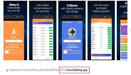 The MineBit Pro - Crypto Cloud Mining & btc miner application display page