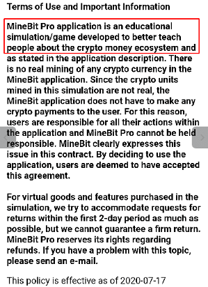 T圖 5:MineBit Pro - Crypto Cloud Mining & btc miner 應用程式的「使用條款與重要資訊」。The MineBit Pro - Crypto Cloud Mining & btc miner application's Terms of Use and Important Information section