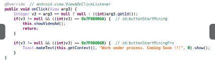 "圖 7:從程式碼可看出,當使用者點選「Start Mining」(開始挖礦) 按鈕之後,就會播放廣告影片。 Code showing how video ads are shown when users click on the ""Start Mining"" button"