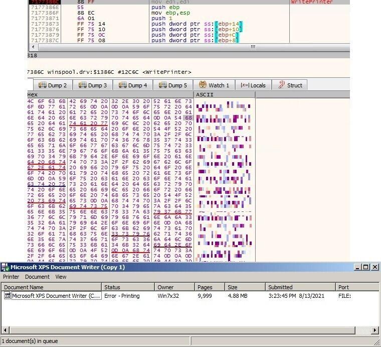 圖 8:使用 WritePrinter API 來將勒索訊息列印到印表機。Figure 8. The WritePrinter API used to print ransom notes on printers