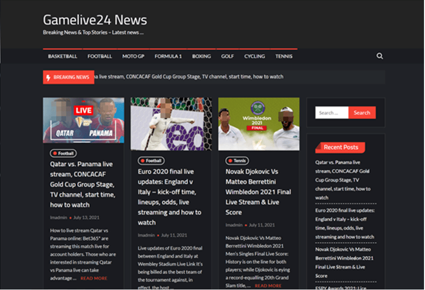 Figure 4: Example of displaying a suspicious sports broadcast site