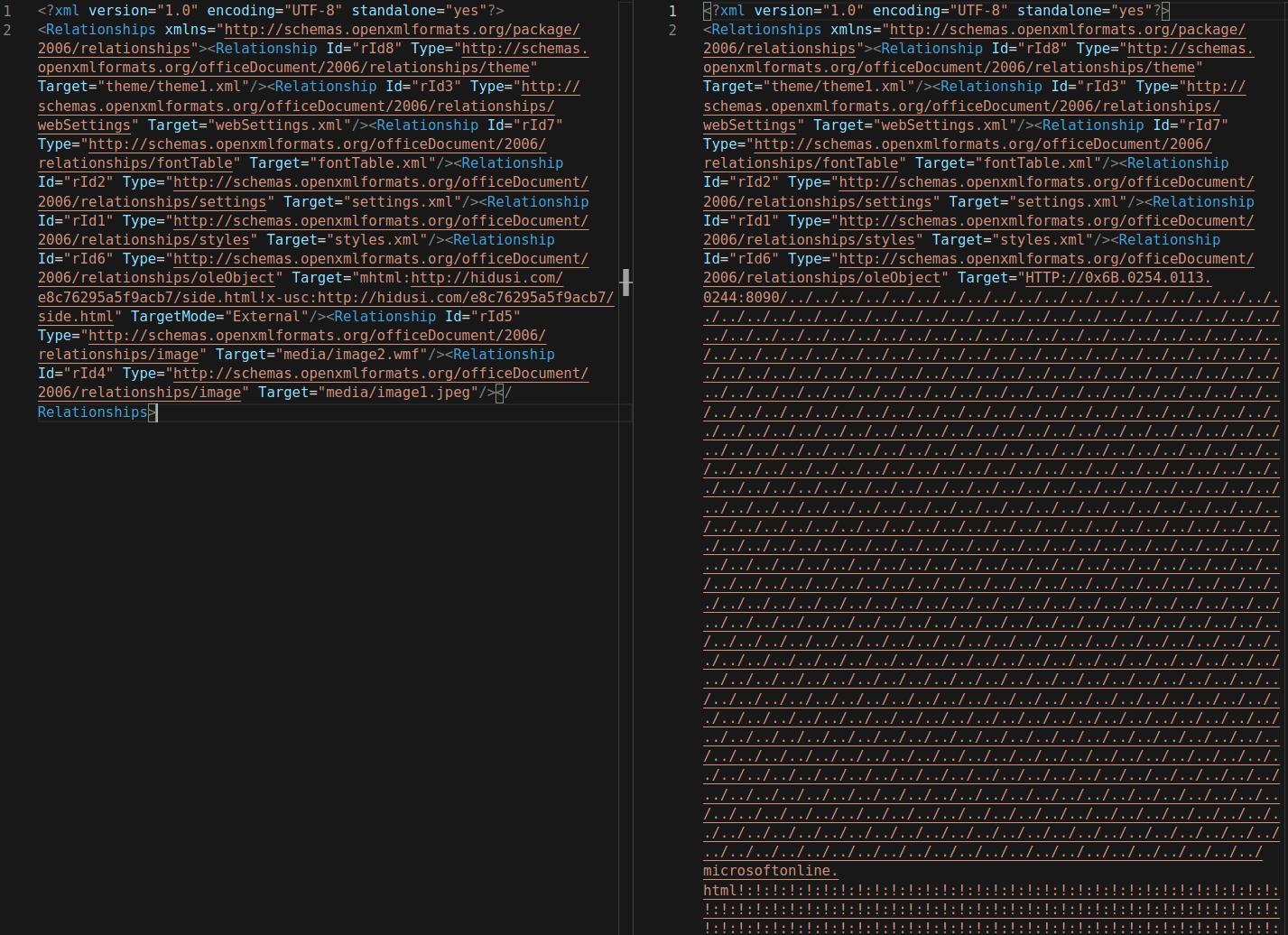 圖 1:新的「Target」網址格式:左側是之前的版本,右側是新的 FormBook 使用的版本。Target URL format