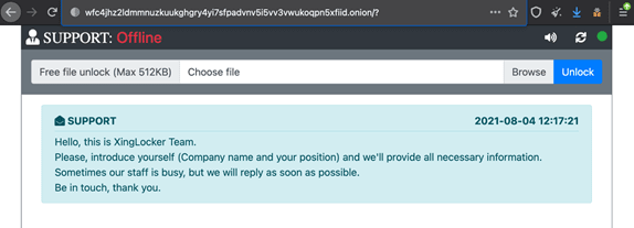 """Figure 1. XingLocker's welcome message on their victim """"support"""" page, shown if the victim clicks the link on the ransom note"""