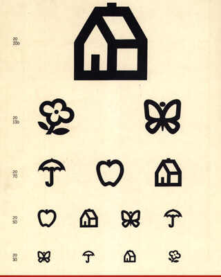 A vision testing chart using simple pictures of houses, flowers and other objects. These kinds of charts can be used with young children or people who cannot read.