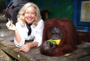 Dr. Anne Sumers with orangutan.