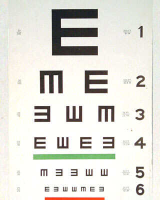 """A """"Tumbling E"""" eye chart from the 1950s. The chart has capital E's facing in different directions, so people being tested can indicate which direction the letter is pointing, instead of having to read different letters."""