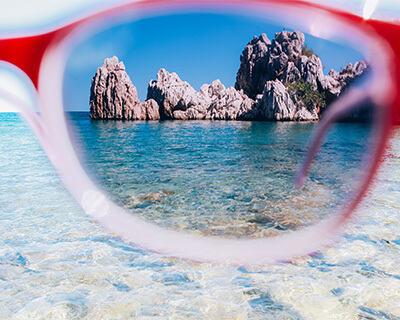 Pretty ocean view with glare seen through a polarized sunglass lens