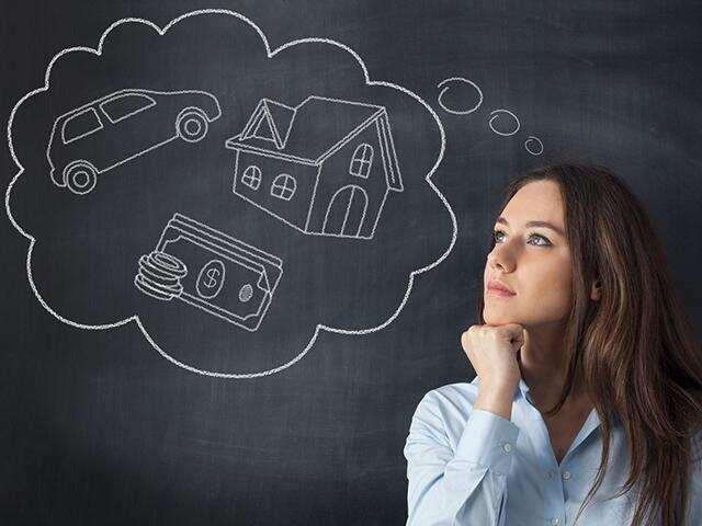 young woman daydreaming about her future