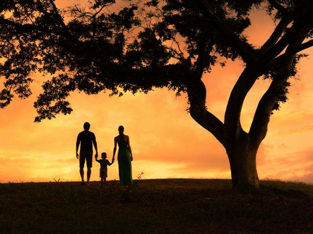 silhouette of a mother, father, and child holding hands and walking together