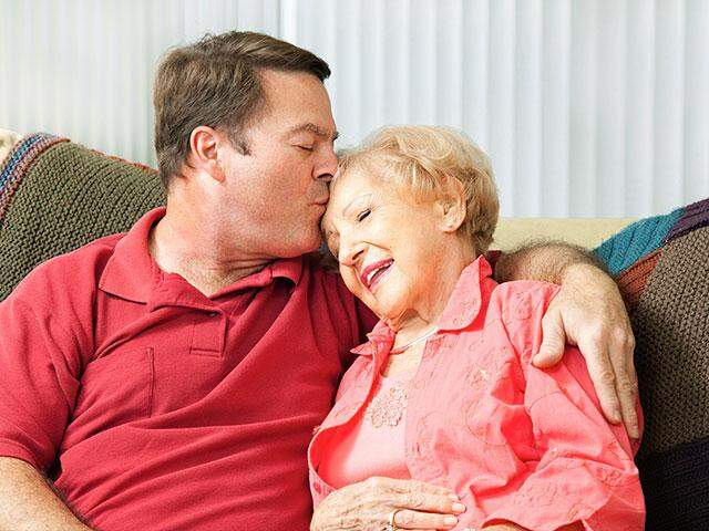 Son with aging mother