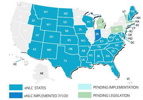 Nursing Compact States Map Nursing Compact States   American Traveler