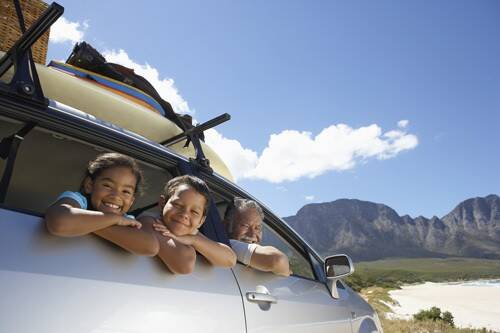 family road trip to the beach