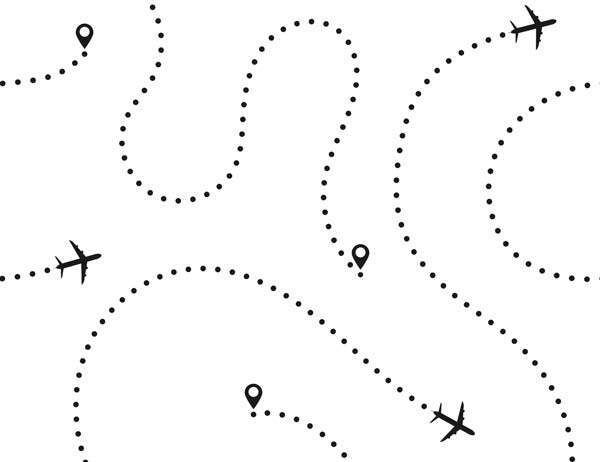 illustration of planes and their paths