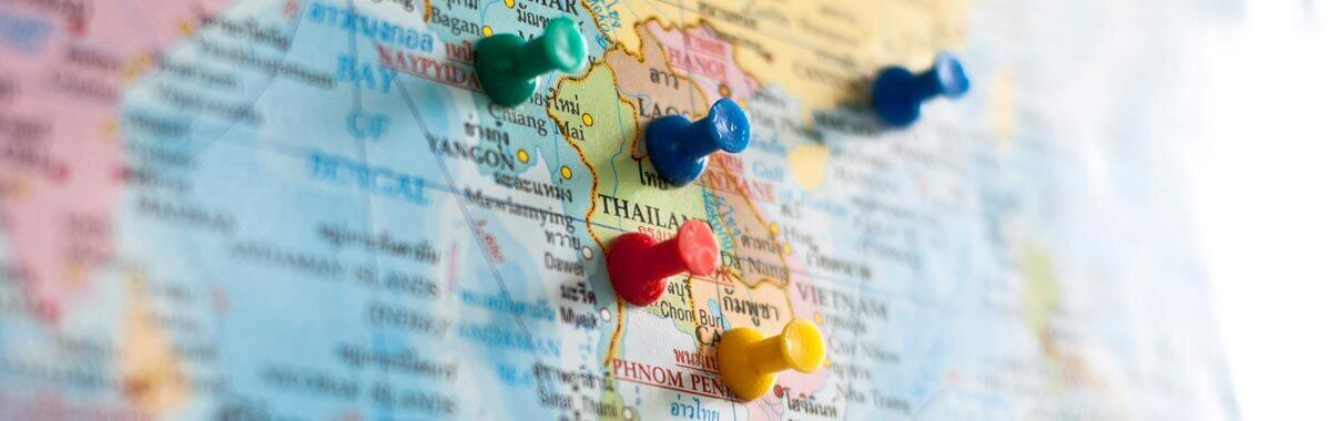 Map with pins to plan a trip