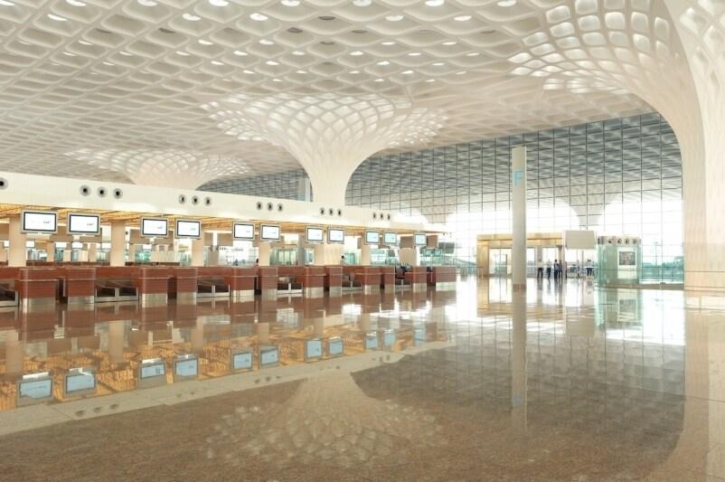 Dramatic Fractal Roof Highlights Som S New Mumbai Airport Terminal Slideshow Building Design Construction