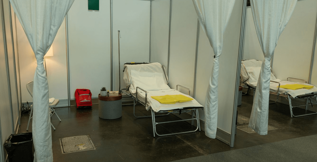 COVID-19 patient rooms in alternate care facility