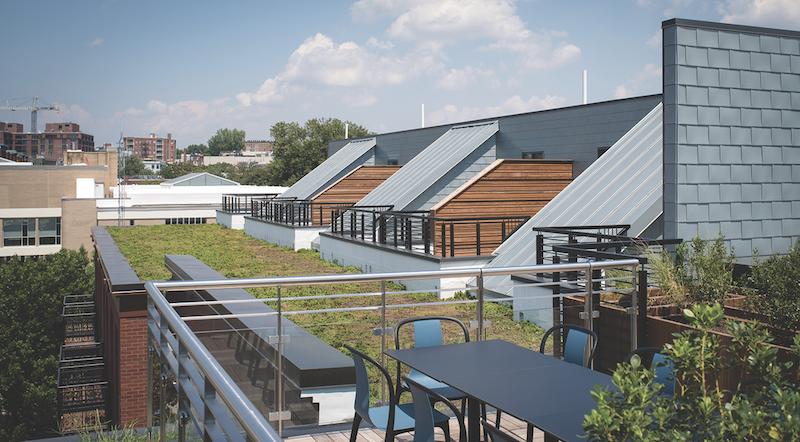 Rheinzink America's architectural-grade zinc cladding for roofs, showing standing seam