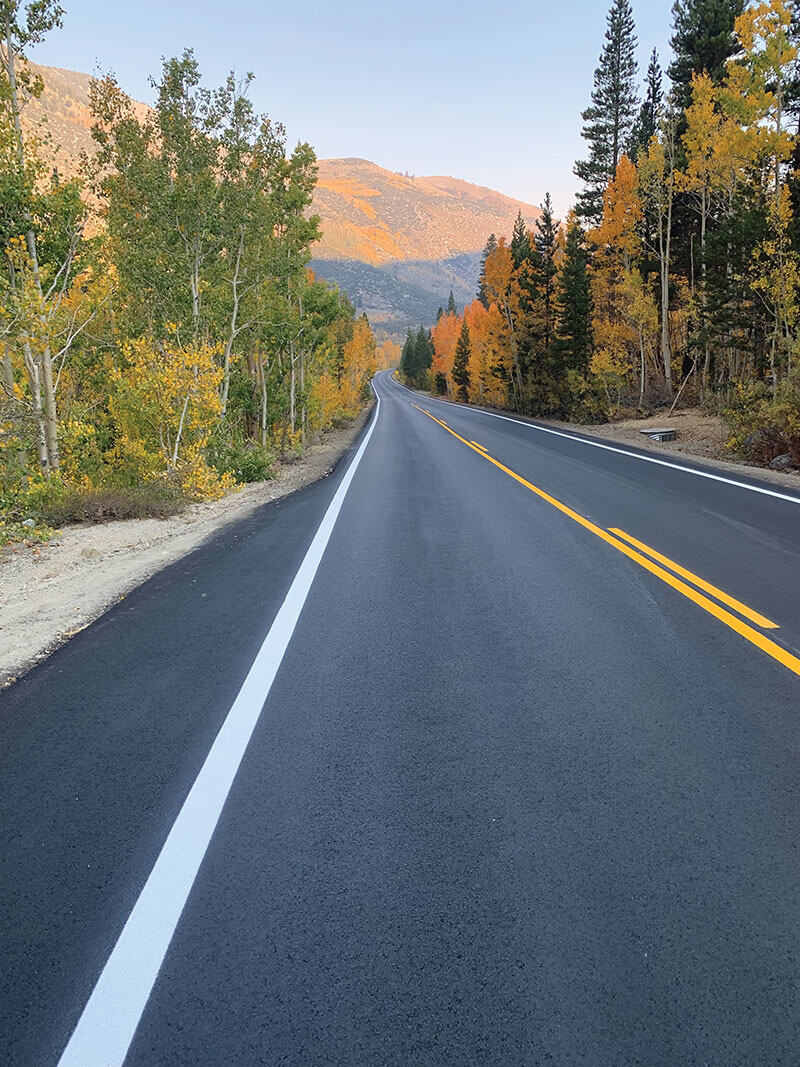 The South Lake Road project consisted of the full-depth reclamation and restoration of just over 8.5 miles of extremely narrow, winding two-lane road at an elevation that ranged from 8,000 ft to 9,800 ft at the project's farthest limit.