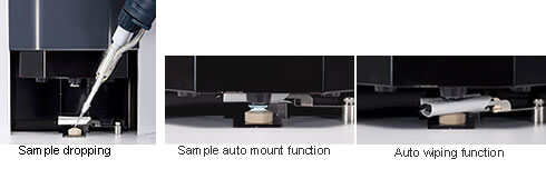 Sample dropping, Sample auto mount function, Auto wiping function