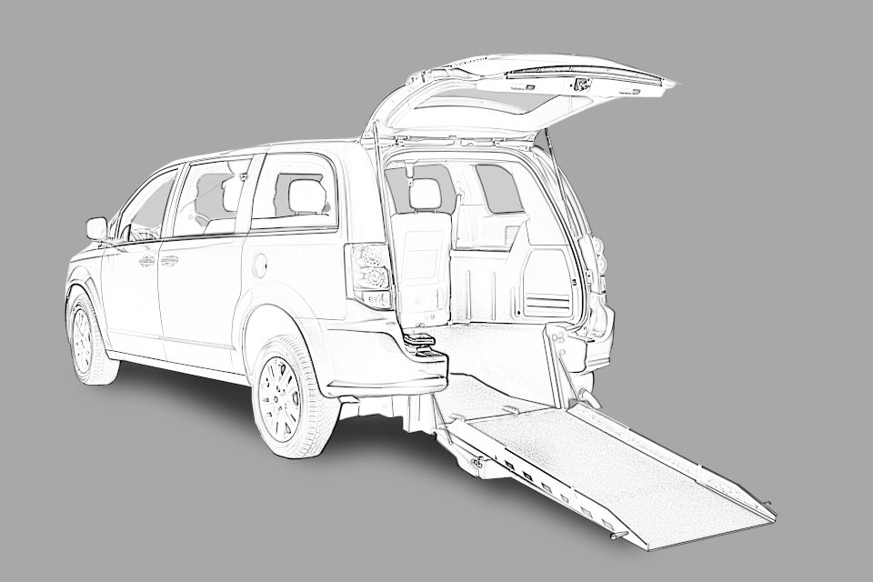 Gray Toyota Sienna with Rear Entry Manual Fold Out ramp