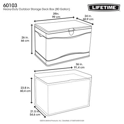 Lifetime Outdoor Storage Deck Box 80 Gallon