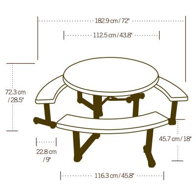 Lifetime 44 Inch Round Picnic Table, Lifetime Round Picnic Table