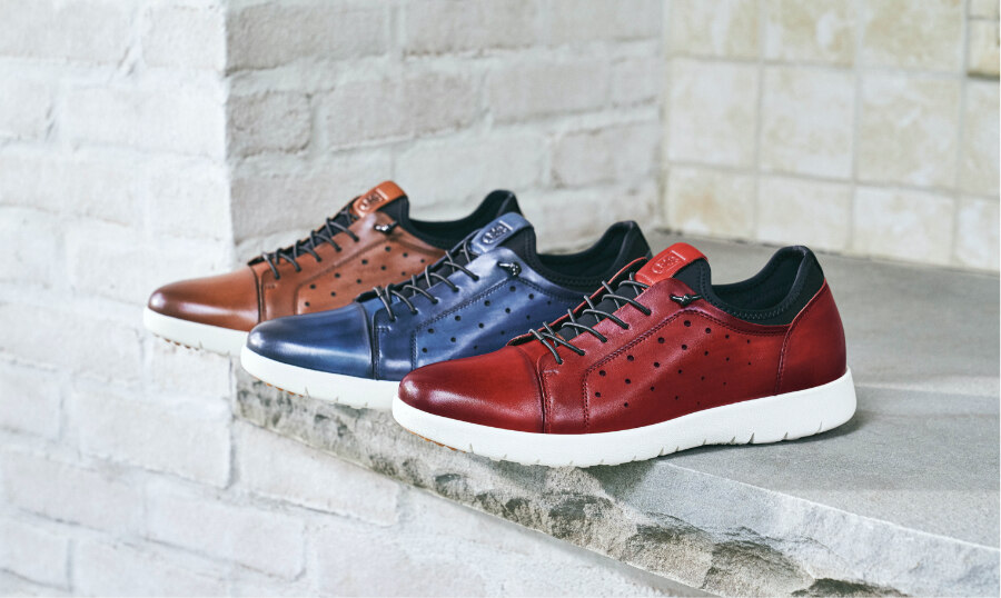 Click to shop the Stacy Adams Casual category. The image features the Halden collection in Cognac, Blue and Cranberry.