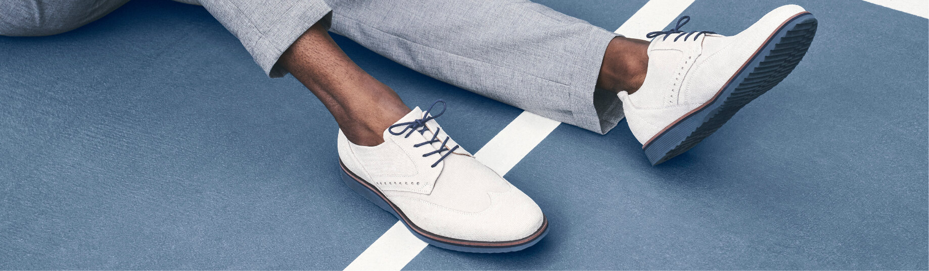 Click to shop this featured Stacy Adams category. The image features the Luxley Wingtip Oxford in Chalk.