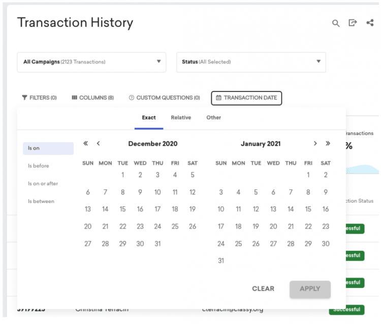 transactions report in Classy