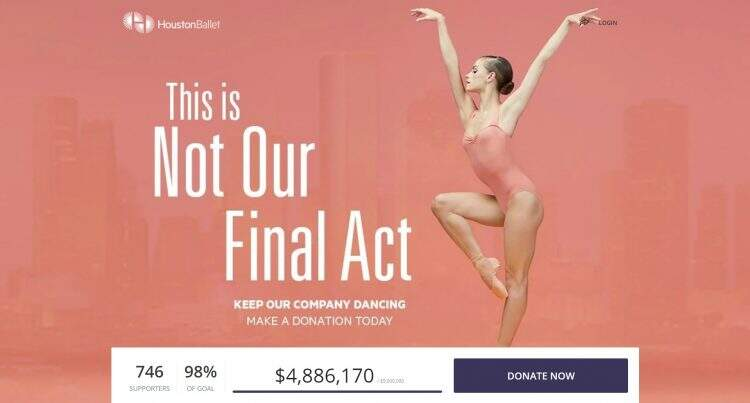 top of houston ballet crowdfunding campaign, donation button