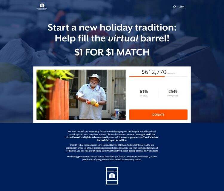 second harvest crowdfunding campaign, donation button