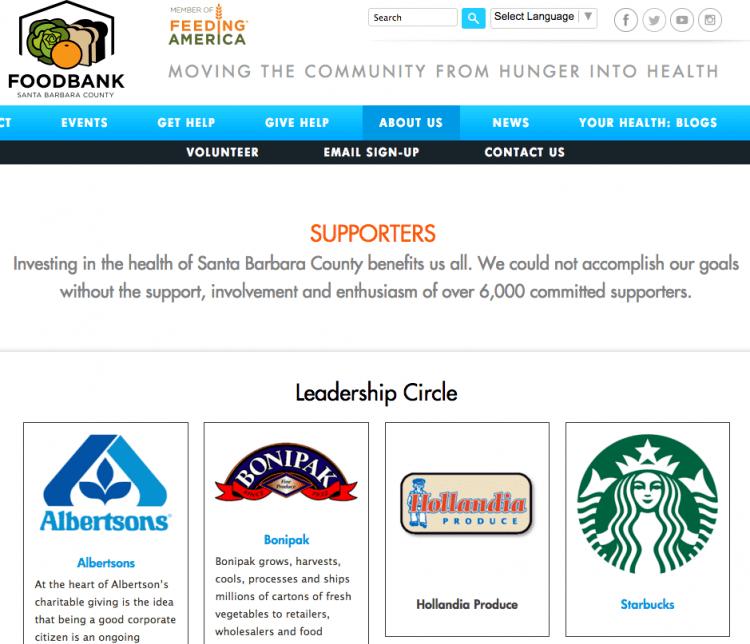 Food Bank Santa Barbara County website donor recognition page