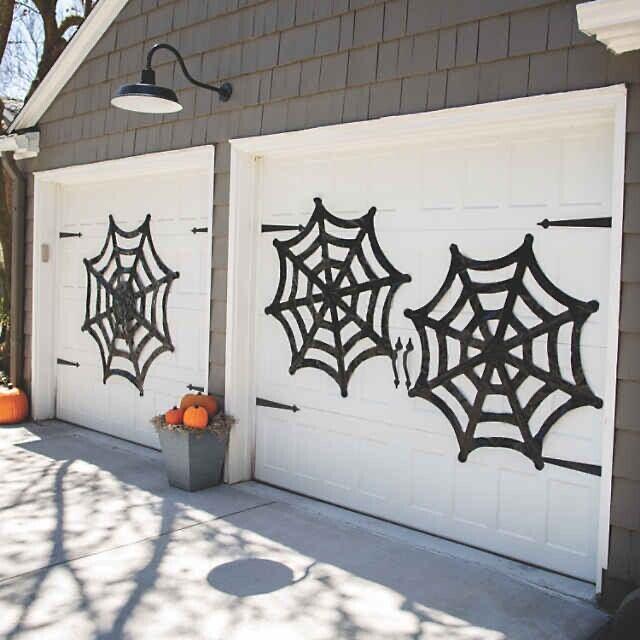 Spider Webs on a Garage Door