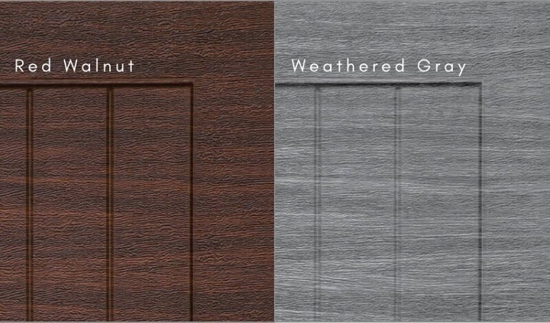 Weathered Gray and Red Walnut Finishes