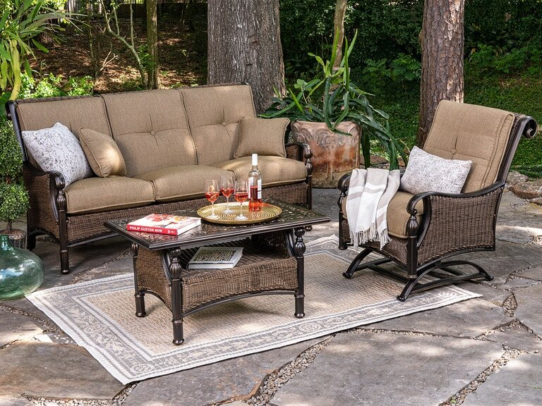 Living Room Barcelona Black Gold Cast Aluminum And Outdoor Wicker With Pampas Linen Cushion 3 Pc