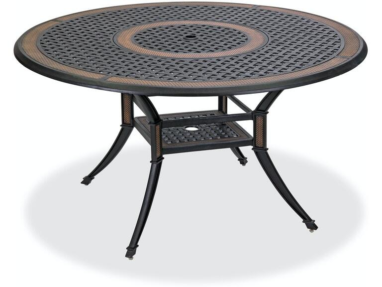 Round Dining Table With Inlaid Lazy Susan, Round Outdoor Dining Table With Lazy Susan