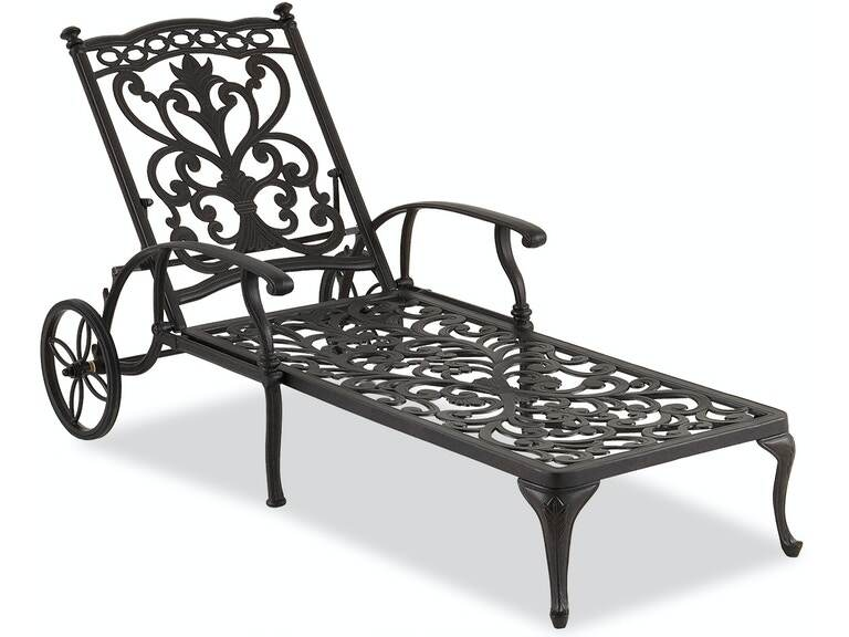 Outdoor Patio Milan Aged Bronze Cast, Pool Chaise Lounge Chairs With Wheels