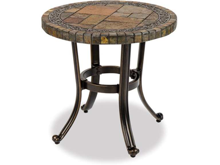 Outdoor Patio Carlsbad Black Gold Aluminum 20 In Red Slate Top Side Table 2454399 Chair King