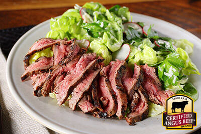 Grilled Flank Steak with Butter Lettuce and Radish Salad recipe provided by the Certified Angus Beef® brand.