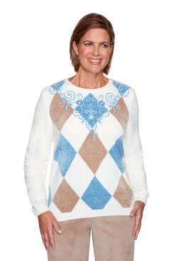 Alfred Dunner Versailles Applique Floral Yoke Sweater