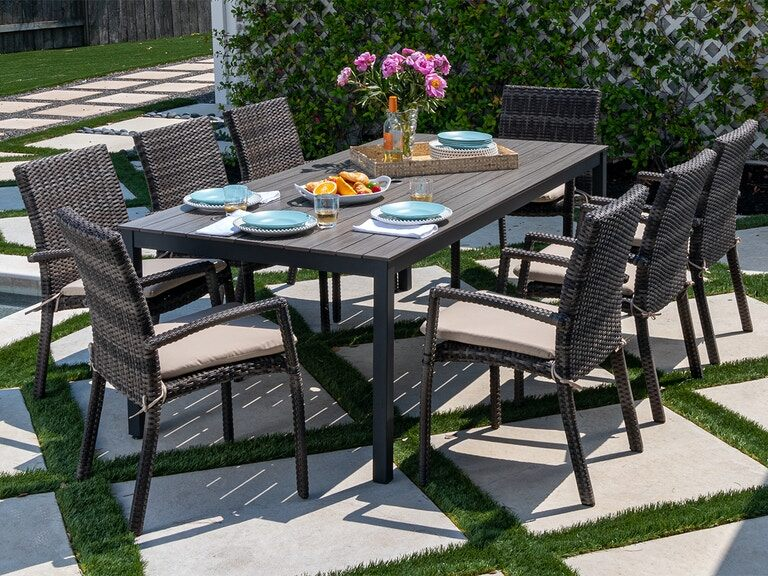Husk Outdoor Wicker 9 Pc Dining Set, Outdoor 9 Piece Dining Set
