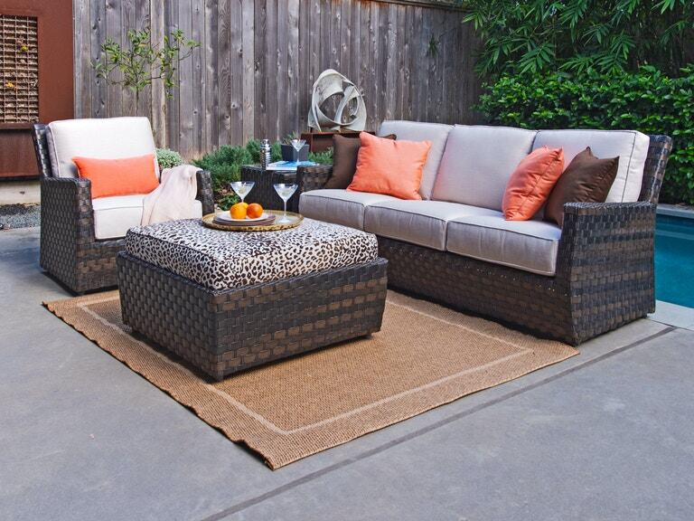 Living Room Catalina Cigar Outdoor Wicker And Valor Putty Cushion 3 Pc Sofa Group Wit 35 In