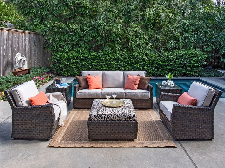 Living Room Catalina Cigar Outdoor Wicker And Valor Putty Cushion 4 Pc Sofa Group With 35 In