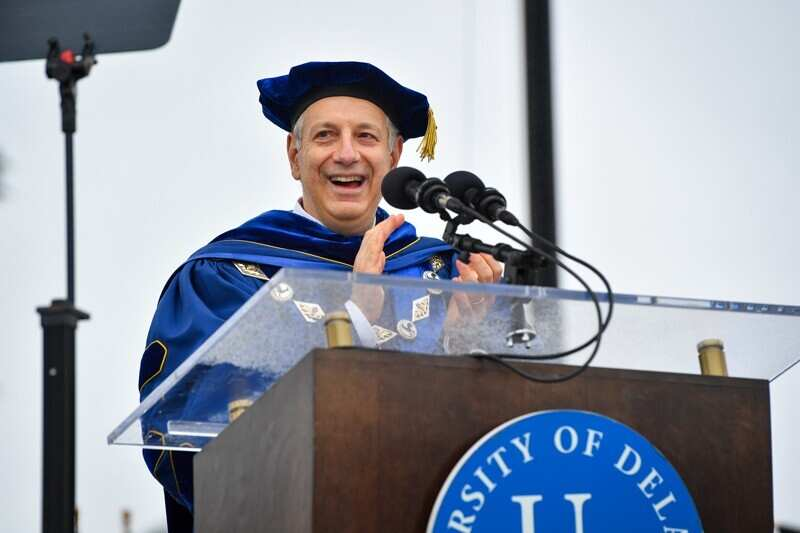 UD President Dennis Assanis spoke to the Class of 2020 during the Commencement ceremony held on Sunday, May 30, 2021 at Delaware Stadium.