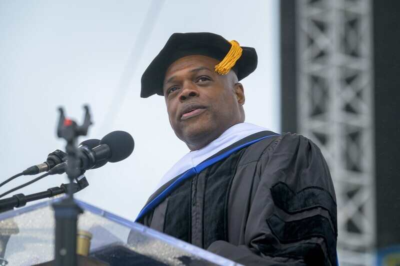 UD Alumnus Ty Jones was the guest speaker for the Commencement ceremony to honor the Class of 2020 on Sunday, May 30, 2021 at Delaware Stadium.