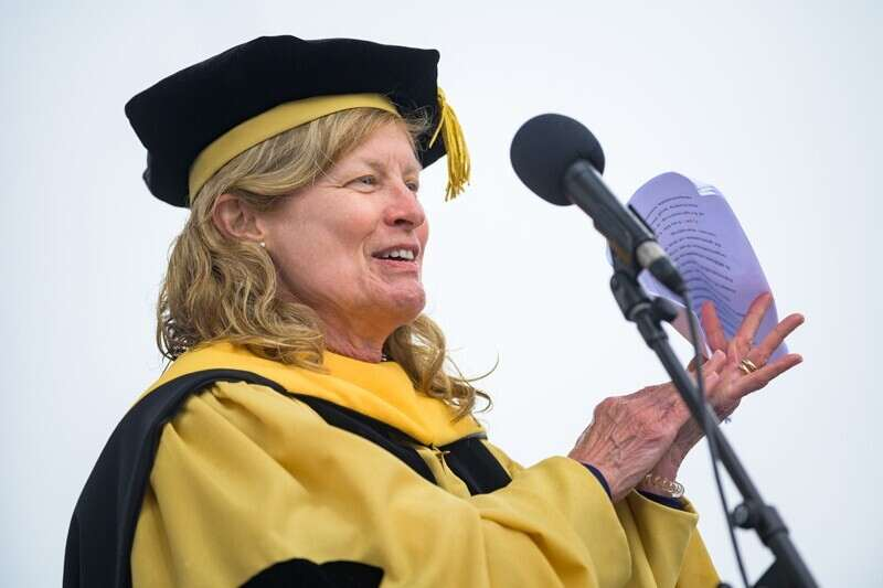 UD Provost Robin Morgan spoke to the Class of 2020 during the Commencement ceremony held on Sunday, May 30, 2021 at Delaware Stadium.