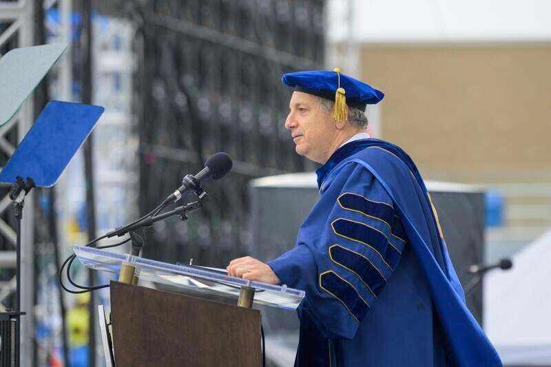 UD President Dennis Assanis spoke to members of the Class of 2021 on Saturday, May 29.