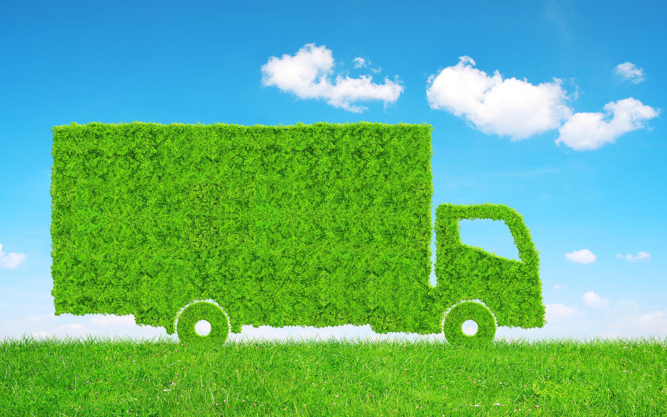 Green grass truck