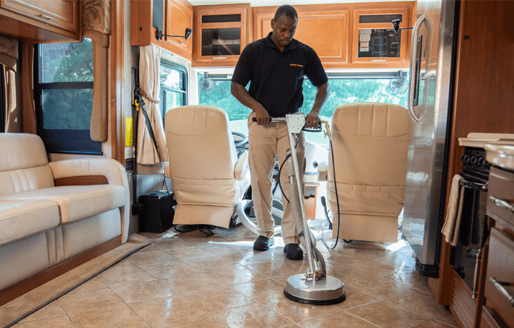 RV upholstery and tile cleaning.