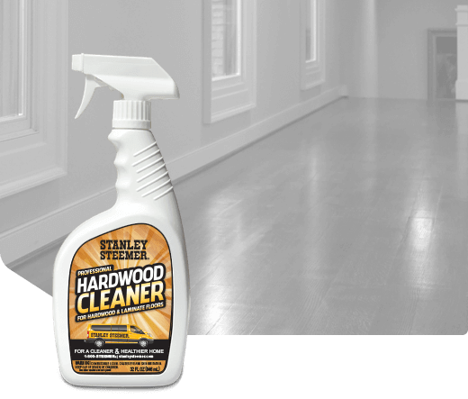Bottle of Stanley Steemer hardwood cleaner spray.